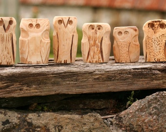 Cornish Hand Carved Pine Wood Owls