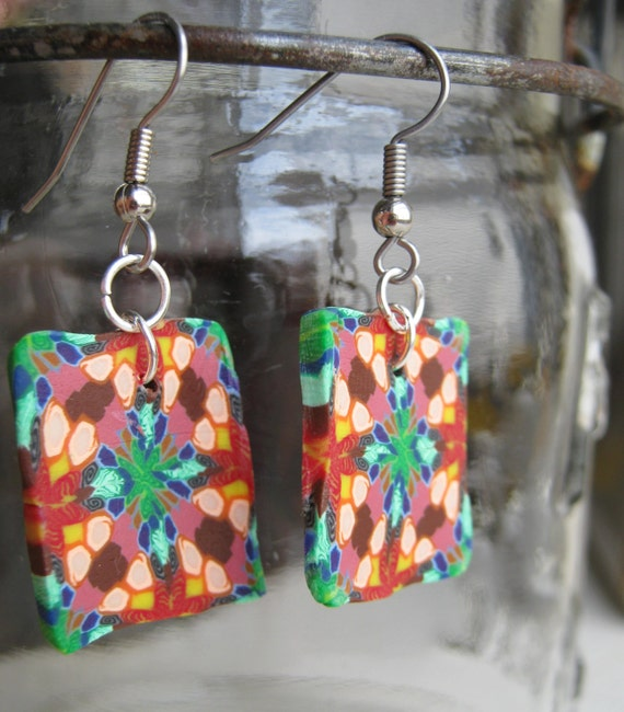 Polymer Clay Earrings, Stained Glass Appearance, Kaleidoscope clay earrings, colorful clay earrings, handmade polymer clay jewelry