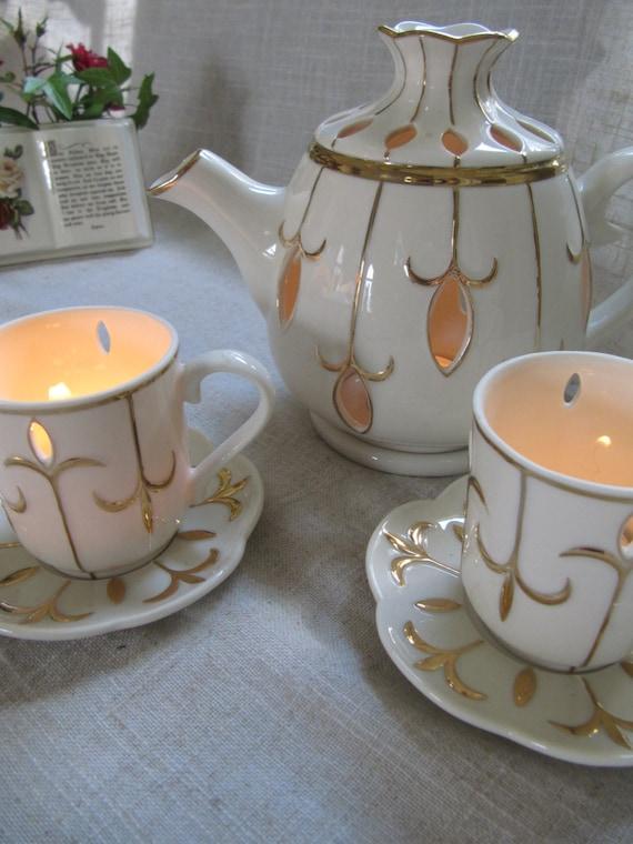 Vintage teapot candle holder teacup bone