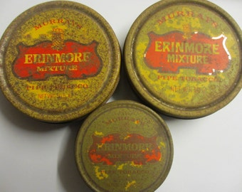 Vintage Murrays Erinmore Mixture Pipe Tobacco Tins x 3