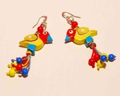 Exotic Birds: Multicolor wooden earrings. African - tribal style - MeandMamaCreations