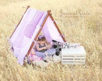 Kids Photography Props Tent Frame and Patchwork Cover Lavender Outdoor Photography Props Outdoor Picture Props Kids Props for Pictures