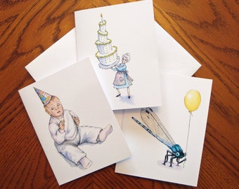 Birthday Note Cards - Birthday Cards - Set of 3