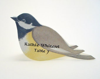 Bird Place Card - Chickadee - Unique - Wedding Place Card - Event Escort Card - Customized - Black-Capped Chickadee