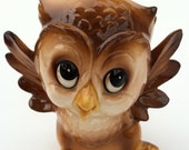 Cute Vintage Owl Figurine Retro Kitch Big Eyes