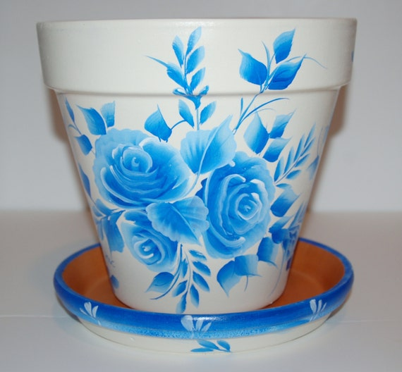 Hand Painted clay flower pot One Stroke Blue roses design 8 - photo#29