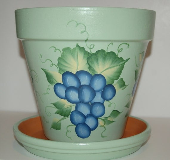 Hand painted clay flower pot one stroke grapes design 8 inches for Big pot painting designs