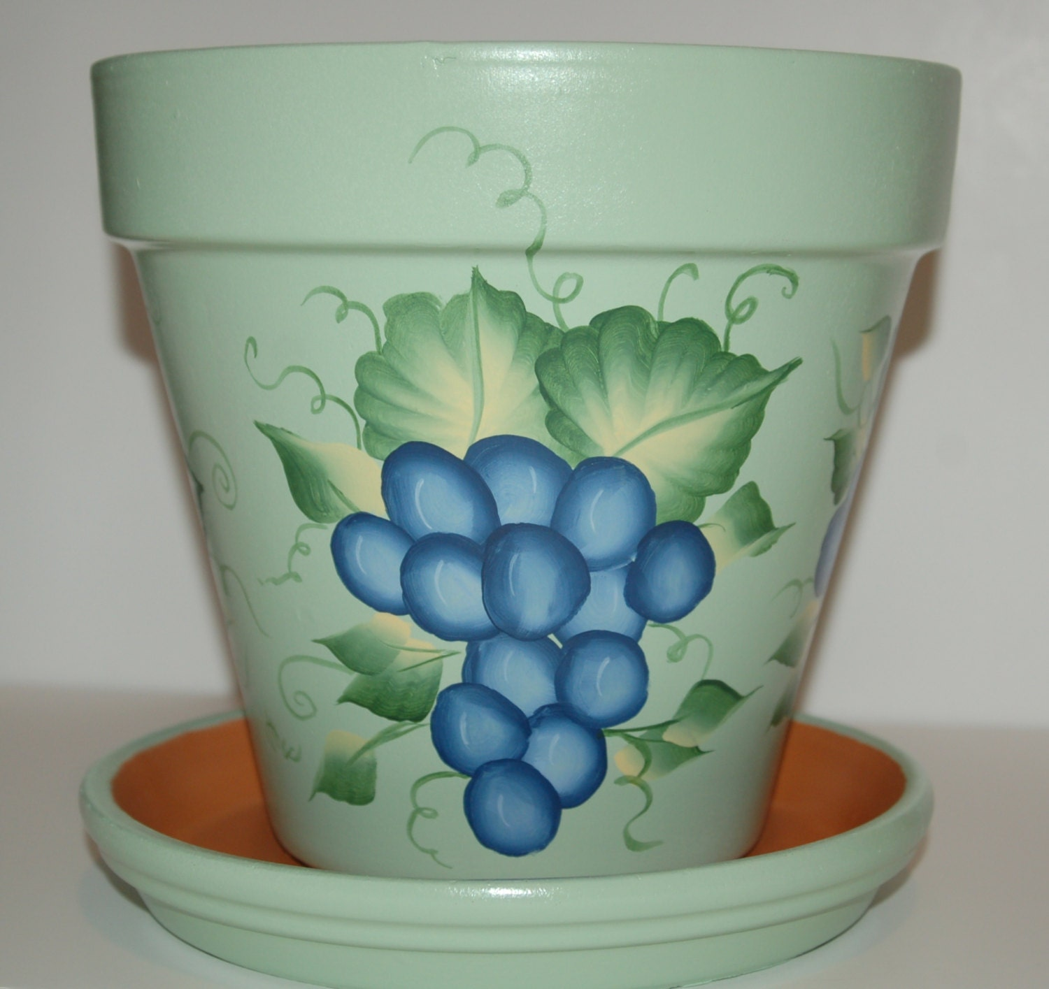 Hand Painted Clay Flower Pot One Stroke Grapes Design 8 Inches