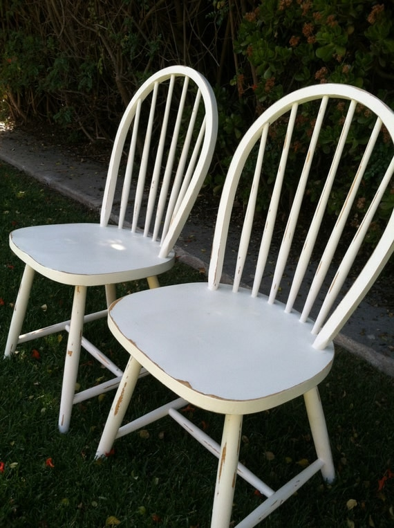 Set of 4 vintage shabby chic white chairs by thepaintedldy for White kitchen dining chairs