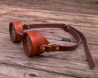 "Leather steampunk goggles, 2"" ocular econostyle"