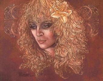 "Irish Fantasy Art FANN Princess of the Daoine Shi. 8x11"".Celtic, Irish, Ireland, Fine Art Print, Goddess, Witch, Wizard, Witchcraft, Sexy."