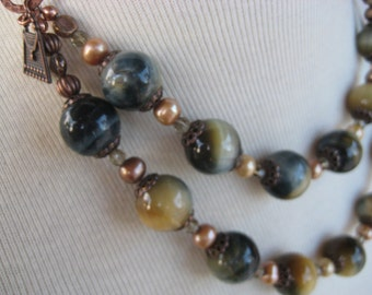 Necklace with gorgeous blue tiger eye beads