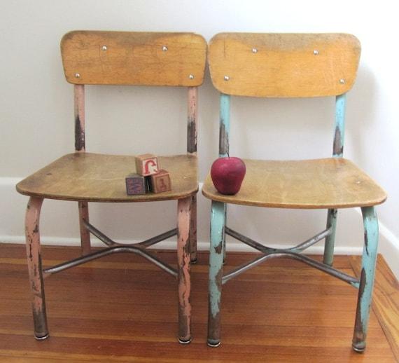 Wooden School Chair ~ Vintage wooden school chair kindergarten size by