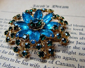 Vintage Brooch & Clip On Earrings Green and Blue