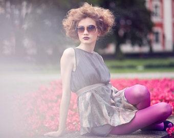 Silk dress/tunique with felting  (fits size: XS/S/M/L)