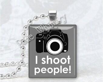 I SHOOT PEOPLE Camera Photography Photo Scrabble Tile Art Pendant Charm