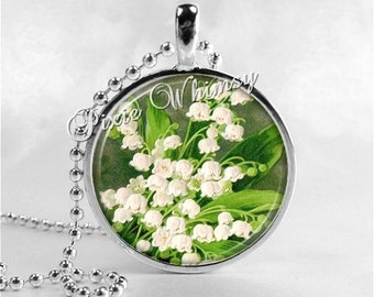 LILY Of The VALLEY FLOWER Jewelry Glass Tile Art Pendant Bezel Necklace with Free 24 Inch Chain