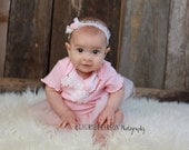 Pink Baby One-Piece with  White Lace and Pearls size  6, 12, 18, months