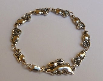 Sterling Silver Mother Rabbit with Little Bunnies Bracelet