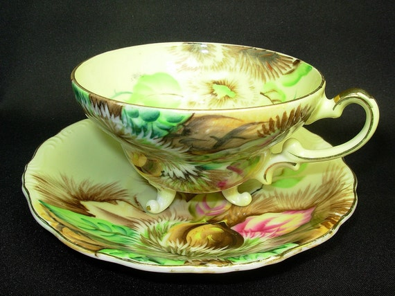 Vintage Norcrest Cup And Saucer 3 Footed Hand By Porcelainpalace