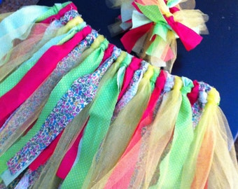 Scrappy Tutu skirt w/hair accessory  (made to order/custom)
