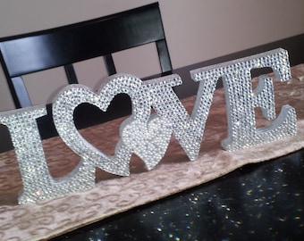 "Swarovski Crystal ""LOVE"" 5"" standing love sign with Heart in any color"