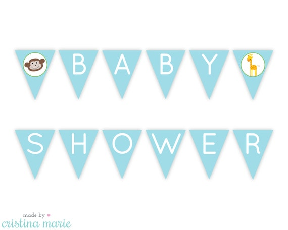 Instant Download Jungle Baby Shower Printable Pennant
