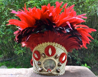 Extra fancy Tahitian tane CHIEF head dress for males