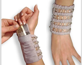 Wide bracelet with a secret . Bracelet purse . Bracelet for money . Secret bracelet .  Light gray wide bracelet . money cuff . Wrist Wallet