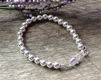 Beaded Sterling Silver Baby Bracelet