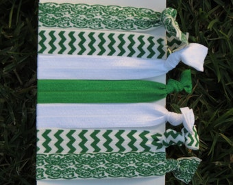 7 Pack St. Patrick's Day Lace Green White Chevron  Knot Hair Ties Stretch Fold Over Elastic PonyTail Holder