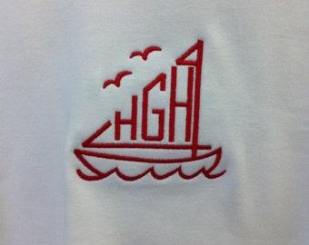 Sailboat Font Monogrammed Shirt