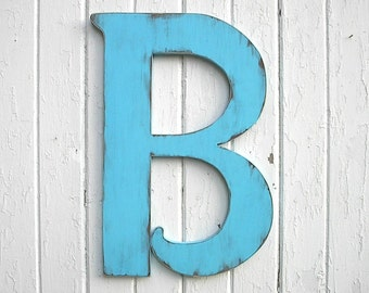 "Wooden Letters Distressed 24"" B Large Wedding Guest book Blue Wall Decor Gift Signage"