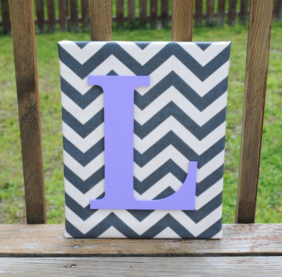 Chevron canvas wall decor : Items similar to personalized grey chevron with light
