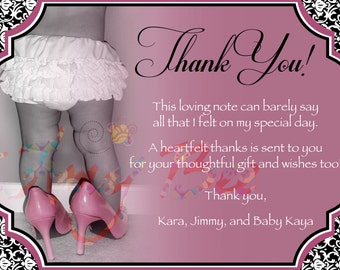 Baby Girl Shower - Thank You Note - vintage - printable