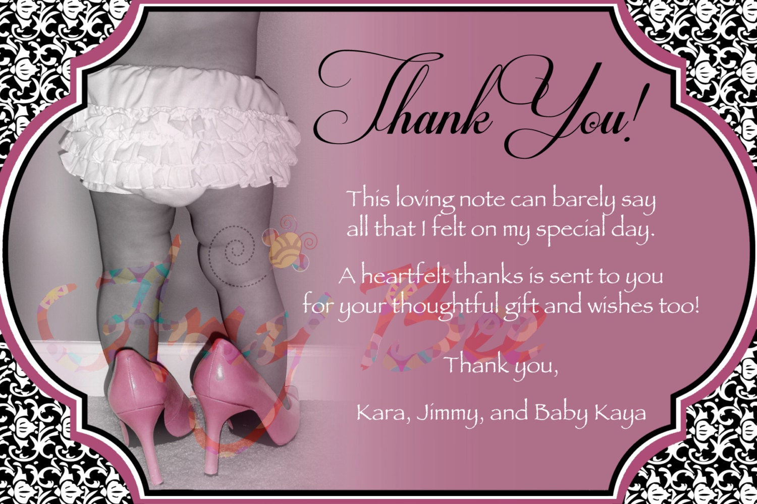 baby girl shower thank you note vintage by amybeecreations