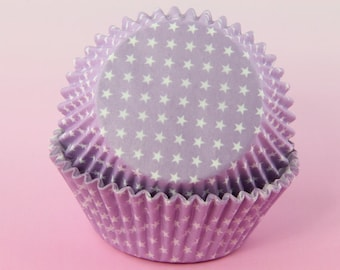 LavenderCupcake Liners Polka Stars, 2'' Standard Size , Baking Cups