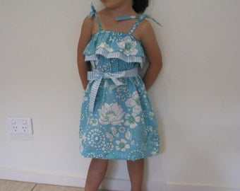 Girl Ruffle Top Dress PDF Sewing Pattern Beginners-Childrens Clothing (Use Sewing Machine Only)