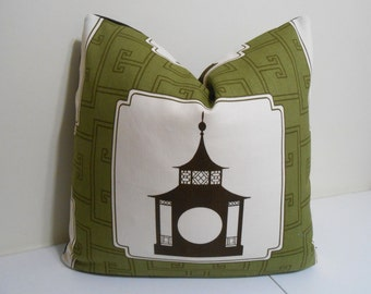 """Duralee Brown - Black Pagoda Pillow Cover- Decorative Pillow Cover  - Thrwon Pillow Cover - 20"""" x 20"""""""