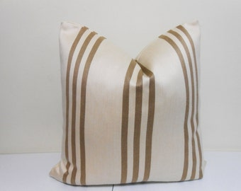 light Brown Cream Outdoor/Indoor  Pavilion decorative pillow cover  - sunbrella fabric- Striped outdoor Pillow