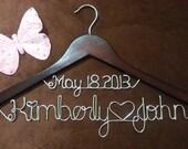 Personalized Wedding Hangers, Bridal Hangers,  personalized one line Bride hanger, Name Hanger,Brides Hangers,date on top hanger