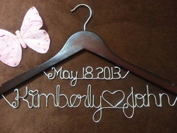 wedding hangers bridal hangers personalized one line bride hanger
