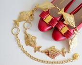 UNIQUE vintage gold tone fish belt waist chain with lion head S M L