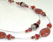 "CLEARANCE - Festive Red Agate Two Tiered ""Illusion"" Beaded Necklace"