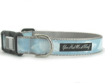 Clouds Dog Collar, Couture, Custom, Light Blue Dog Collar - Silver Lining