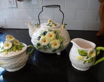 Vintage Tea Set - George Lefton Rustic Daisy Tea Set - Cottage Chic Decor