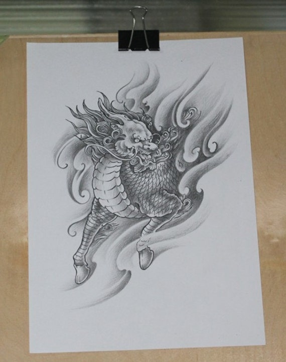 Items similar to chinese artist drawing art original color for Gifts for tattoo artist