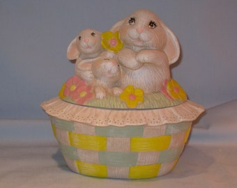 Ceramic bunny box . Candy dish, hand painted by Joan Davis