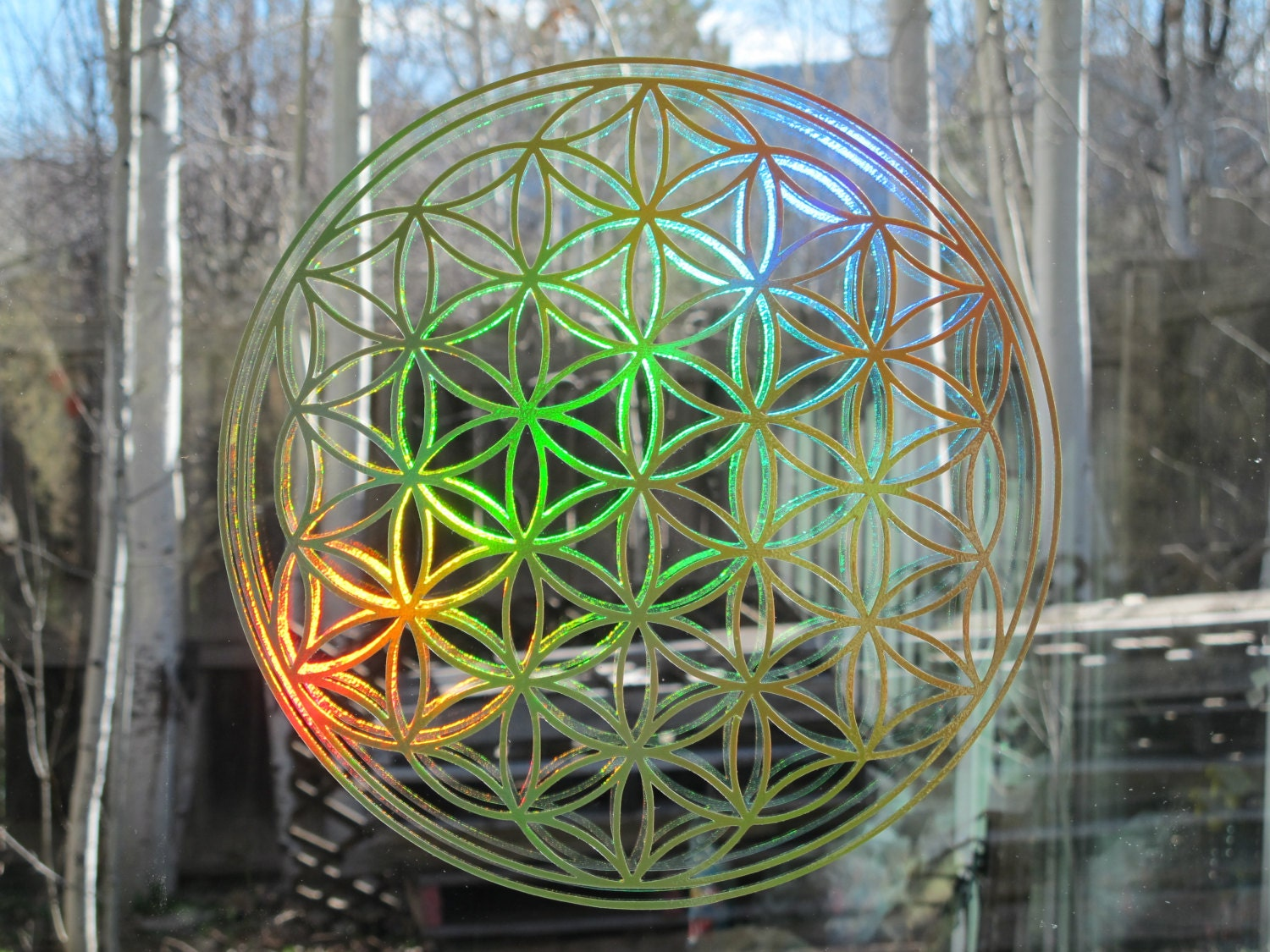Flower of Life Prismatic Rainbow Sticker