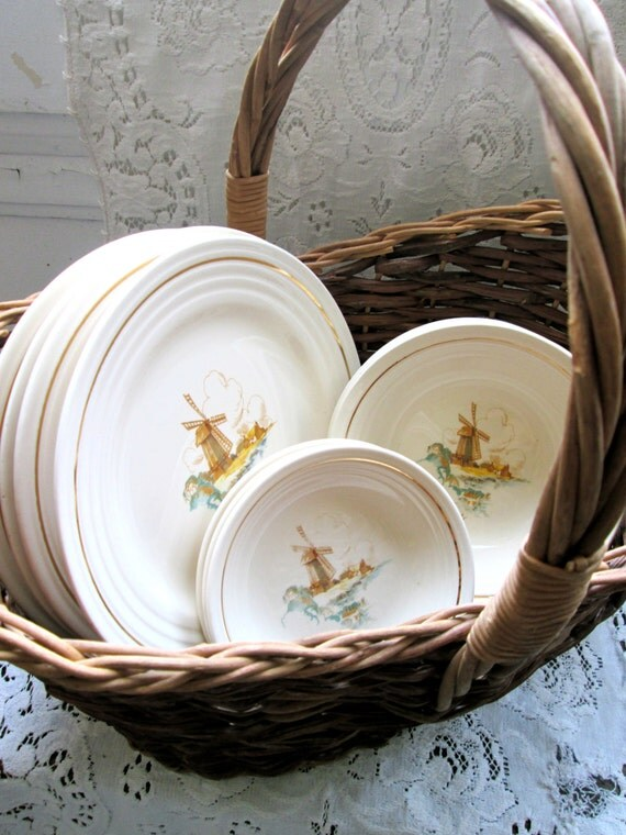 Vintage Dishes set Butter pat Kitchen dinnerware windmill
